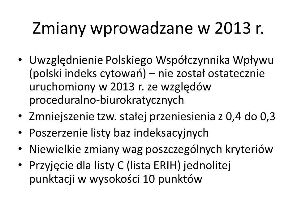 Zmiany wprowadzane w 2013 r. Uwzględnienie Polskiego Współczynnika Wpływu (polski indeks cytowań) – nie został ostatecznie uruchomiony w 2013 r. ze wz
