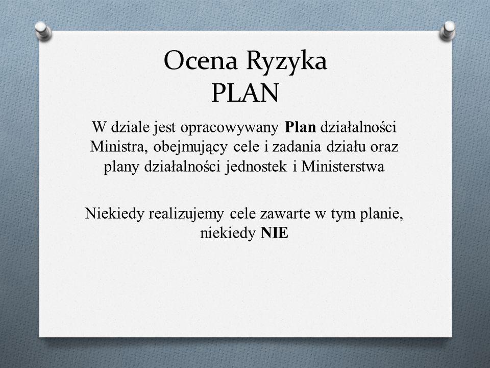 Ocena Ryzyka PLAN W dziale jest opracowywany Plan działalności Ministra, obejmujący cele i zadania działu oraz plany działalności jednostek i Minister