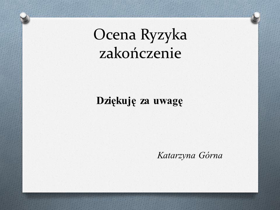 Ocena Ryzyka zakończenie Dziękuję za uwagę Katarzyna Górna