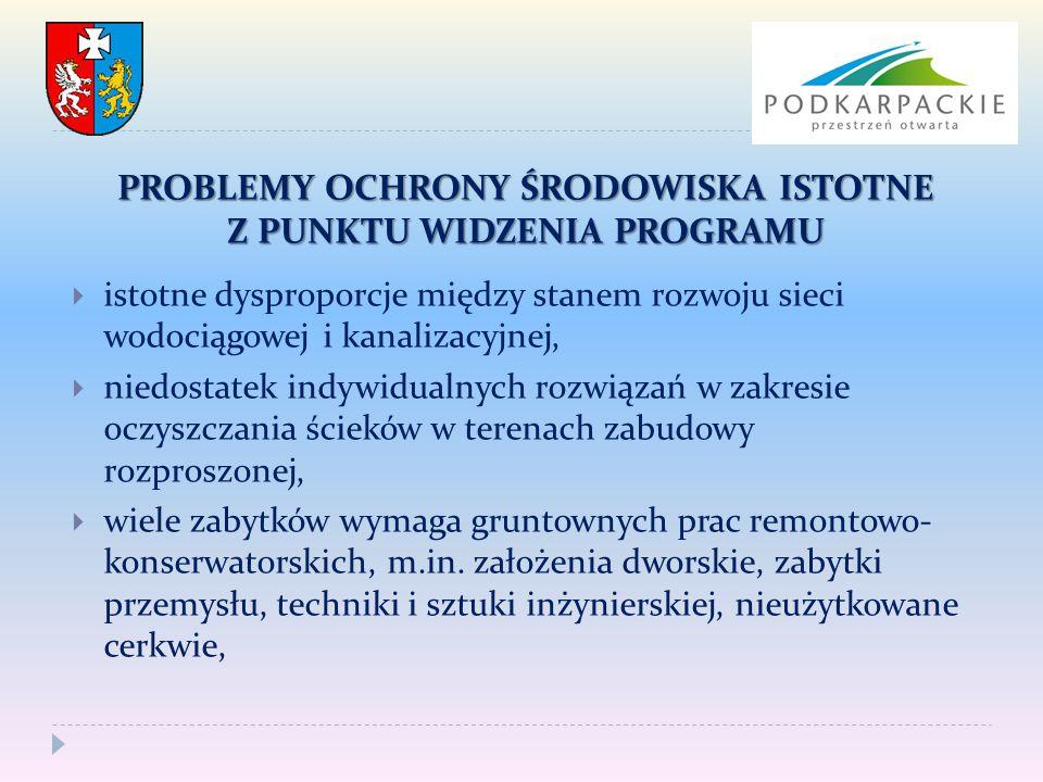  istotne dysproporcje między stanem rozwoju sieci wodociągowej i kanalizacyjnej,  niedostatek indywidualnych rozwiązań w zakresie oczyszczania ściek