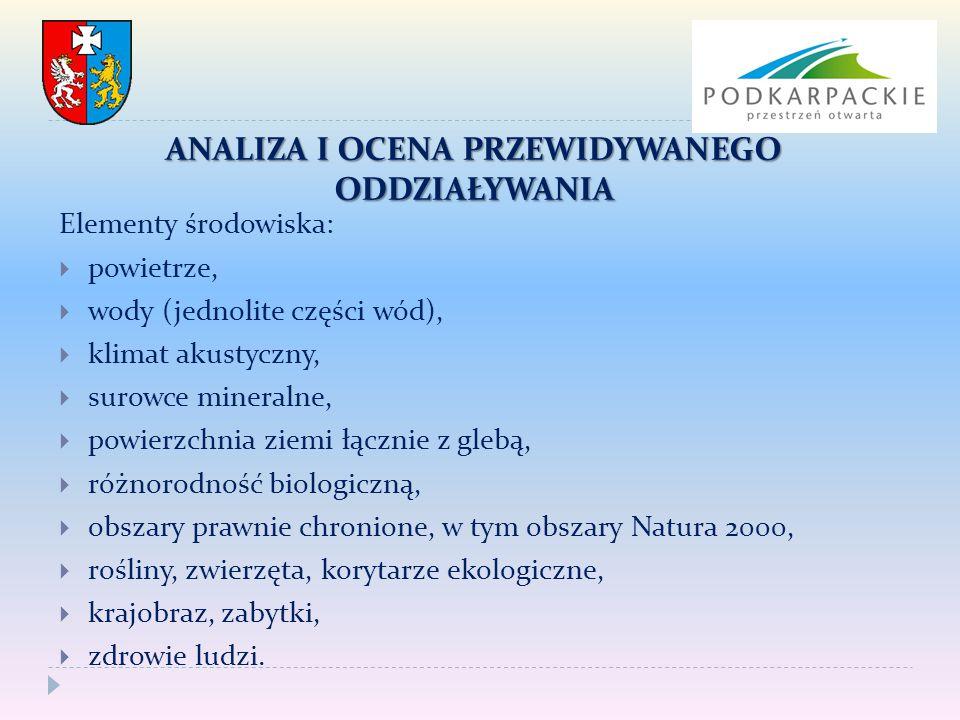 ANALIZA I OCENA PRZEWIDYWANEGO ODDZIAŁYWANIA Elementy środowiska:  powietrze,  wody (jednolite części wód),  klimat akustyczny,  surowce mineralne