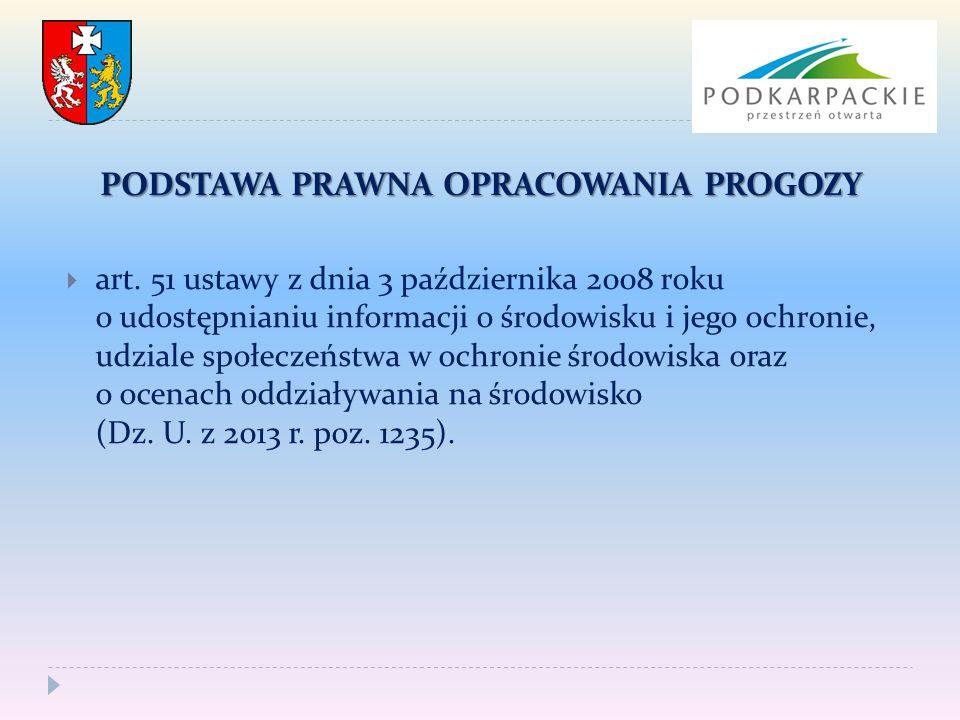 PODSTAWA PRAWNA OPRACOWANIA PROGOZY  art. 51 ustawy z dnia 3 października 2008 roku o udostępnianiu informacji o środowisku i jego ochronie, udziale