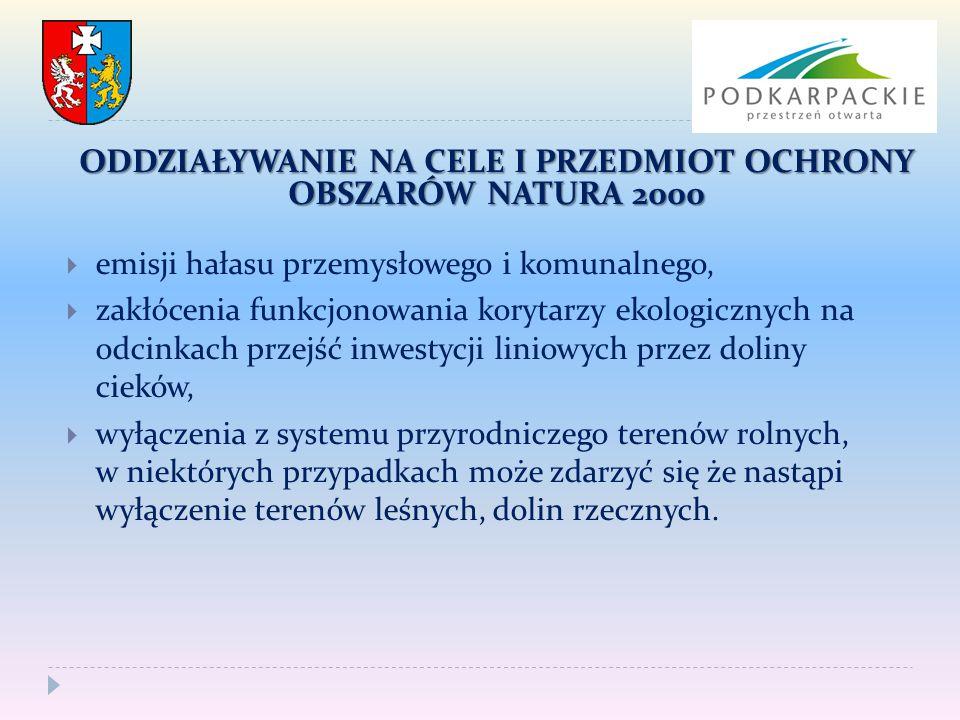  emisji hałasu przemysłowego i komunalnego,  zakłócenia funkcjonowania korytarzy ekologicznych na odcinkach przejść inwestycji liniowych przez dolin