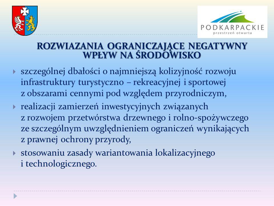  szczególnej dbałości o najmniejszą kolizyjność rozwoju infrastruktury turystyczno – rekreacyjnej i sportowej z obszarami cennymi pod względem przyro