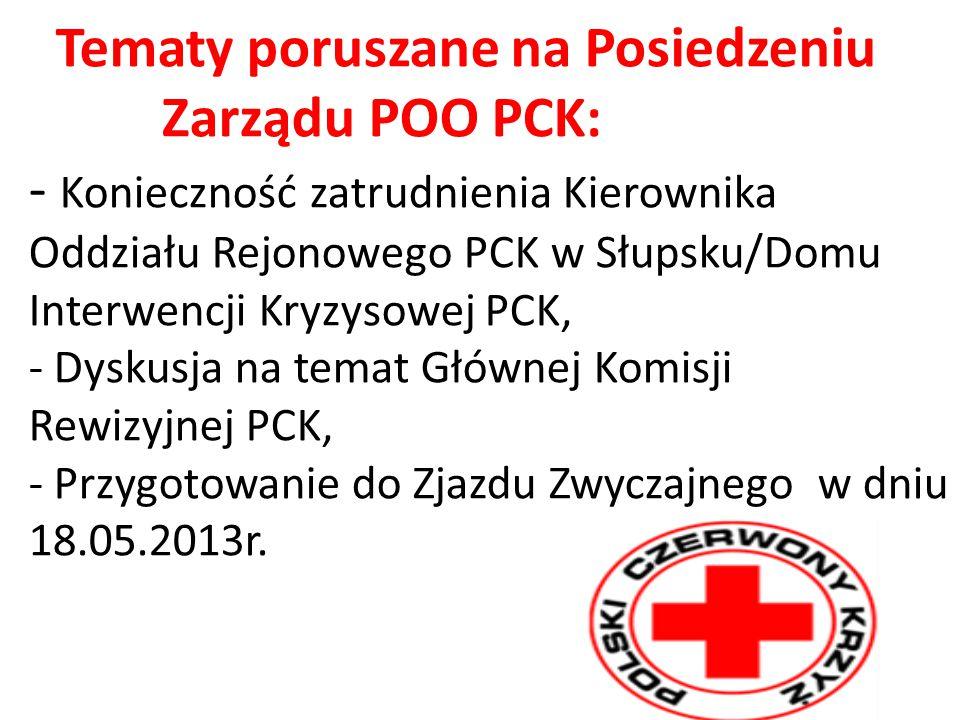 Tematy poruszane na Posiedzeniu Zarządu POO PCK: - Konieczność zatrudnienia Kierownika Oddziału Rejonowego PCK w Słupsku/Domu Interwencji Kryzysowej PCK, - Dyskusja na temat Głównej Komisji Rewizyjnej PCK, - Przygotowanie do Zjazdu Zwyczajnego w dniu 18.05.2013r.