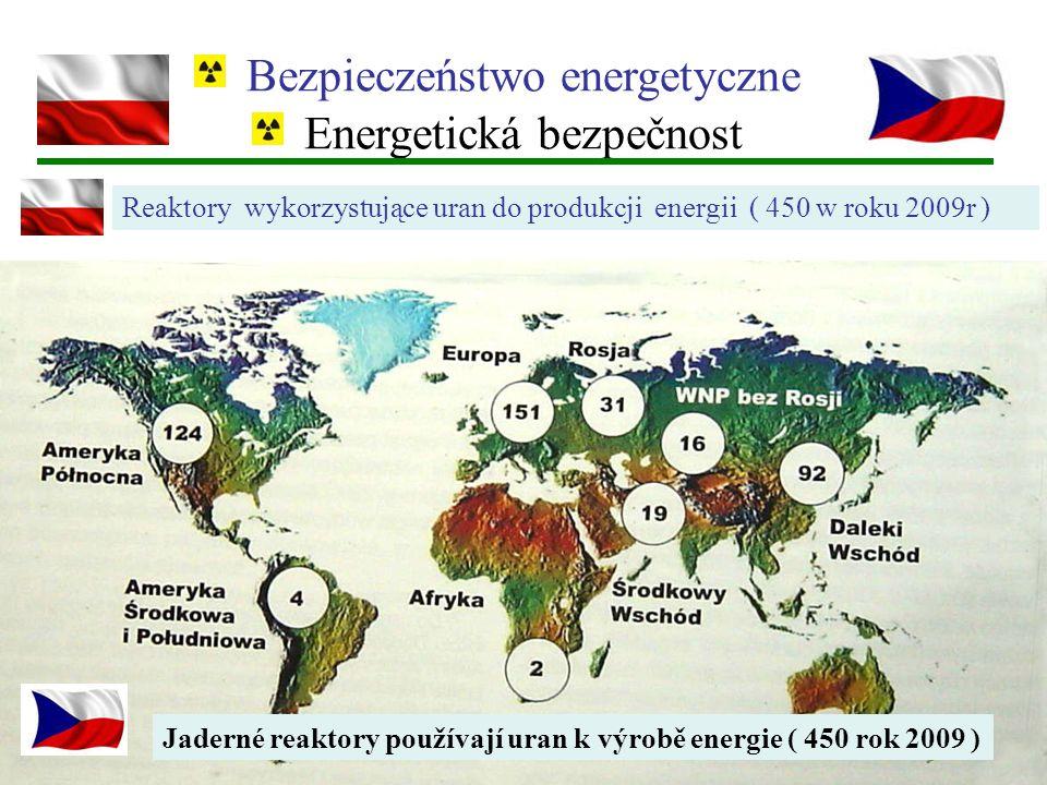 Bezpieczeństwo energetyczne Energetická bezpečnost Reaktory wykorzystujące uran do produkcji energii ( 450 w roku 2009r ) Jaderné reaktory používají u