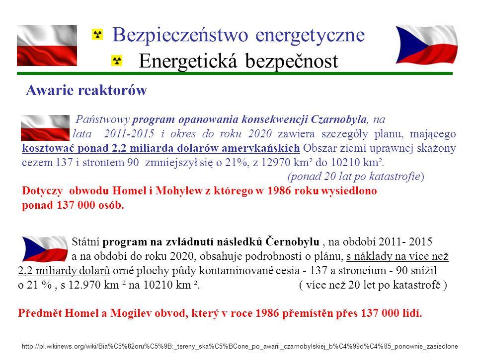 Bezpieczeństwo energetyczne Energetická bezpečnost Państwowy program opanowania konsekwencji Czarnobyla, na lata 2011-2015 i okres do roku 2020 zawier