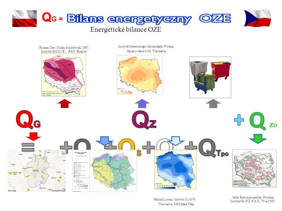 Energetické bilance OZE Q G = Roman Ney i Julian Sokołowski, 1987. Instytut G S M i E: PAN- Kraków Instytut Meteorologii i Gospodarki Wodnej. Opracowa