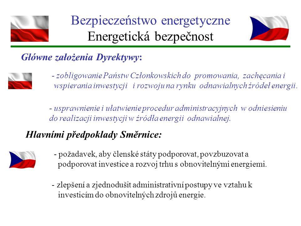 Bezpieczeństwo energetyczne Energetická bezpečnost Główne założenia Dyrektywy: - zobligowanie Państw Członkowskich do promowania, zachęcania i wspiera