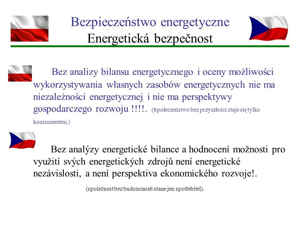 Bezpieczeństwo energetyczne Energetická bezpečnost Bez analizy bilansu energetycznego i oceny możliwości wykorzystywania własnych zasobów energetyczny