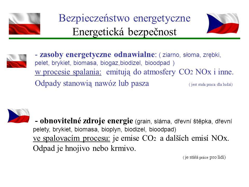 Bezpieczeństwo energetyczne Energetická bezpečnost - zasoby energetyczne odnawialne: ( ziarno, słoma, zrębki, pelet, brykiet, biomasa, biogaz,biodizel