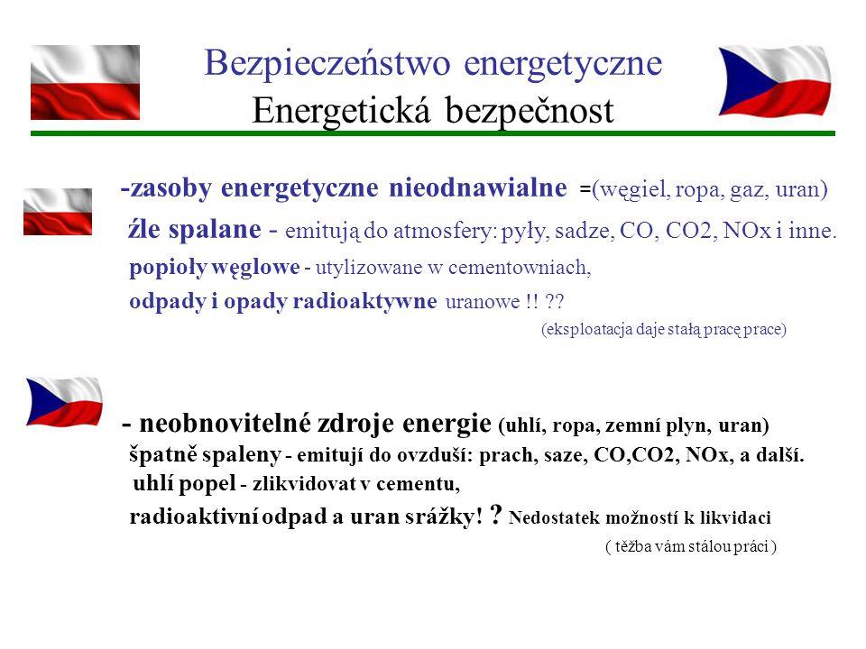 Bezpieczeństwo energetyczne Energetická bezpečnost - neobnovitelné zdroje energie (uhlí, ropa, zemní plyn, uran) špatně spaleny - emitují do ovzduší: