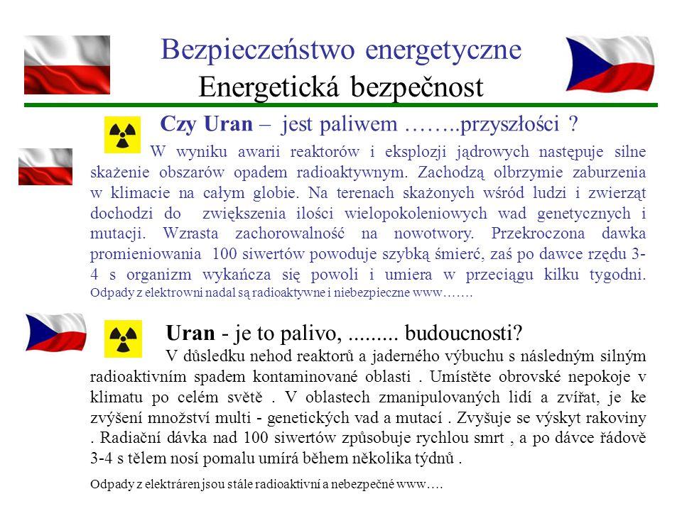 Bezpieczeństwo energetyczne Energetická bezpečnost W wyniku awarii reaktorów i eksplozji jądrowych następuje silne skażenie obszarów opadem radioaktyw
