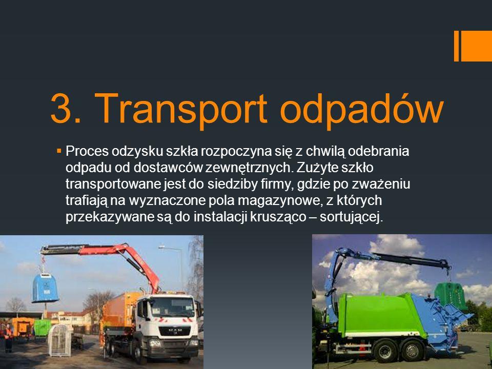 3. Transport odpadów  Proces odzysku szkła rozpoczyna się z chwilą odebrania odpadu od dostawców zewnętrznych. Zużyte szkło transportowane jest do si