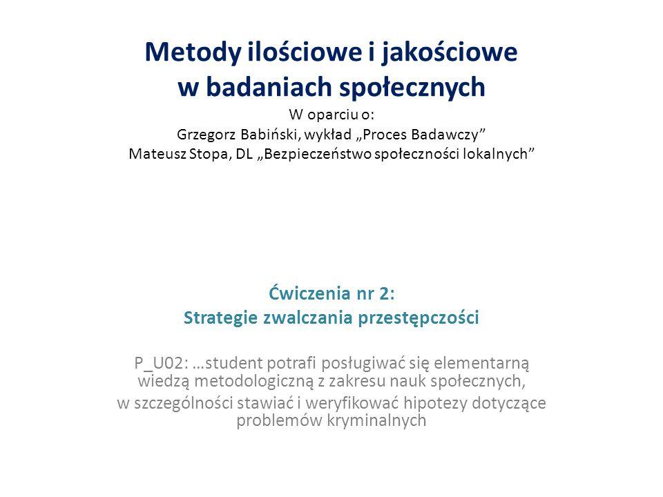 """Metody ilościowe i jakościowe w badaniach społecznych W oparciu o: Grzegorz Babiński, wykład """"Proces Badawczy"""" Mateusz Stopa, DL """"Bezpieczeństwo społe"""