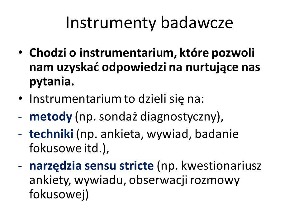 Instrumenty badawcze Chodzi o instrumentarium, które pozwoli nam uzyskać odpowiedzi na nurtujące nas pytania. Instrumentarium to dzieli się na: -metod