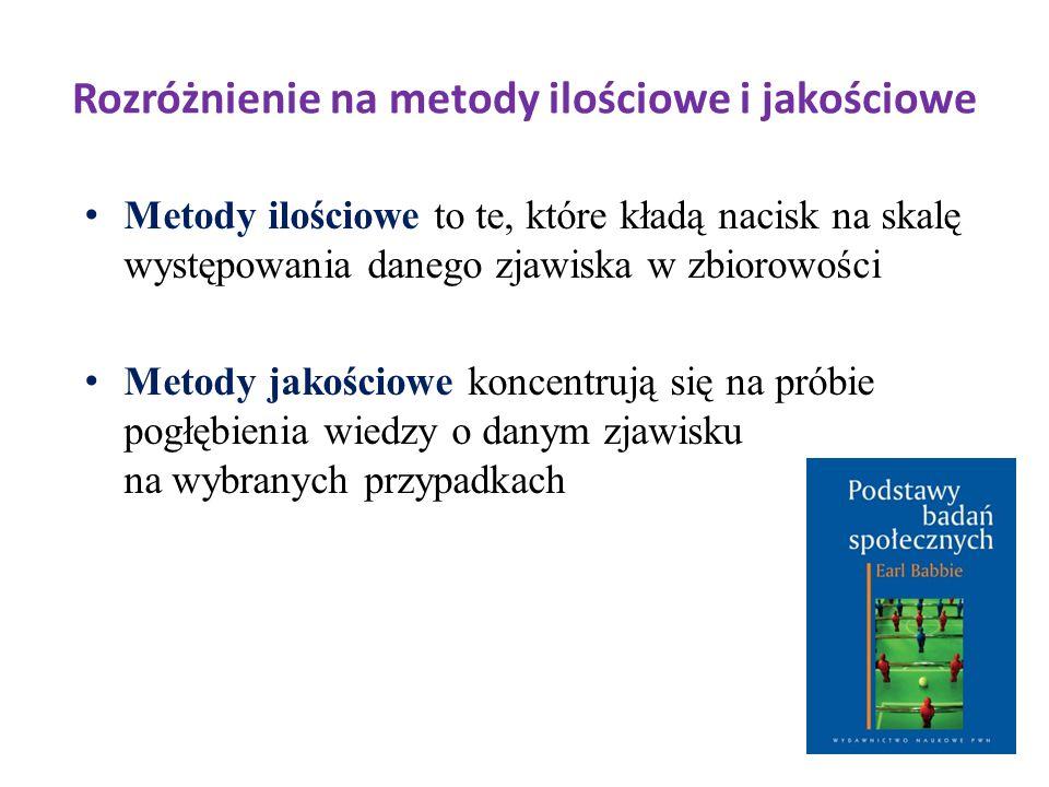 Rozróżnienie na metody ilościowe i jakościowe Metody ilościowe to te, które kładą nacisk na skalę występowania danego zjawiska w zbiorowości Metody ja