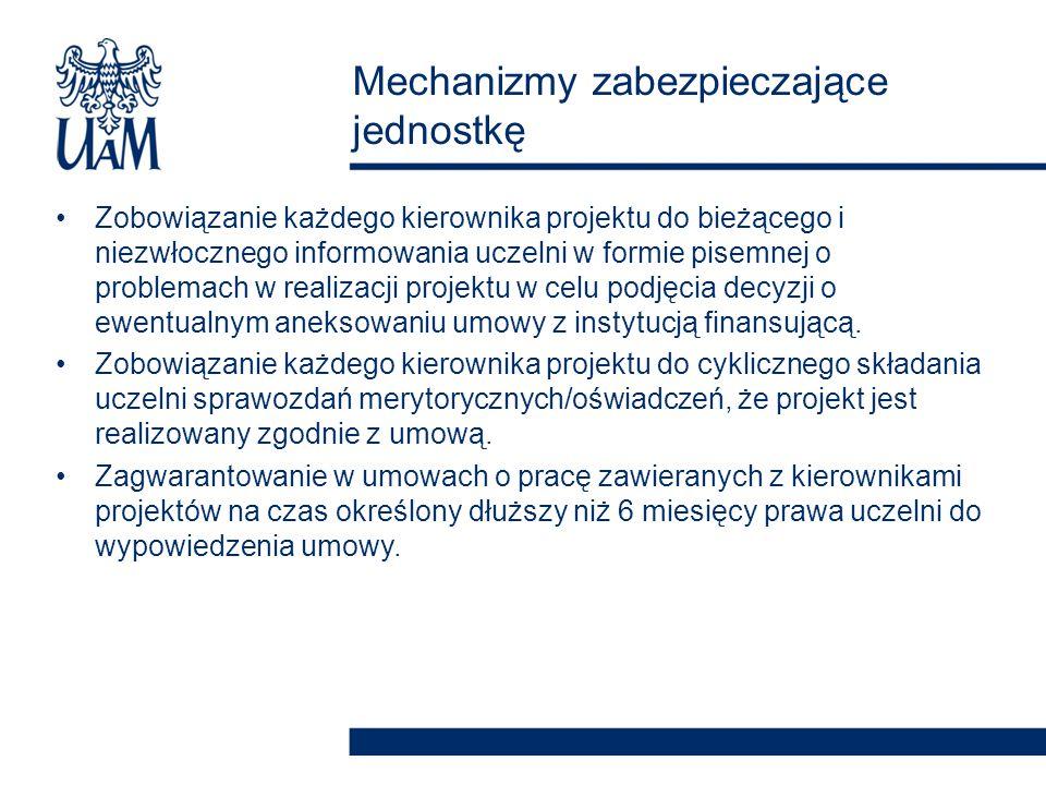 Zagwarantowanie w umowach o dzieło/umowach zlecenia zabezpieczenia przez kierownika projektu należytego wykonania umowy w określonych przez uczelnię formach i wysokości (np.