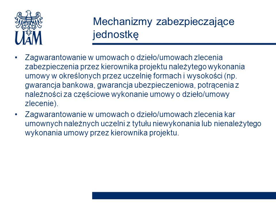 Zagwarantowanie w umowach o dzieło/umowach zlecenia zabezpieczenia przez kierownika projektu należytego wykonania umowy w określonych przez uczelnię f