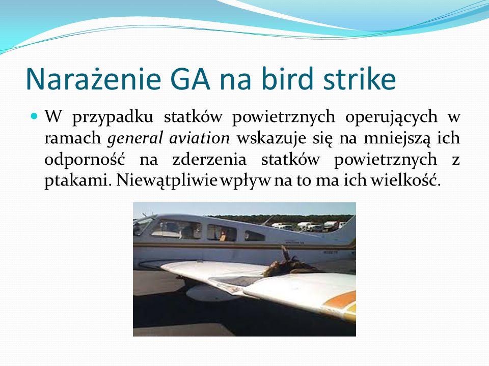 Narażenie GA na bird strike W przypadku statków powietrznych operujących w ramach general aviation wskazuje się na mniejszą ich odporność na zderzenia
