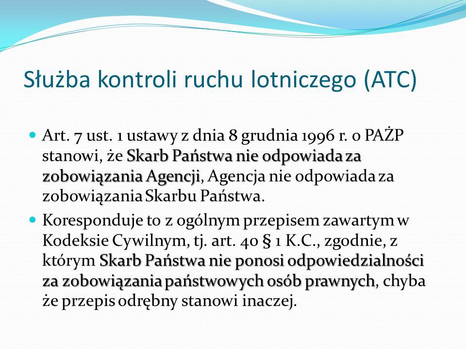 Służba kontroli ruchu lotniczego (ATC) Skarb Państwa nie odpowiada za zobowiązania Agencji Art. 7 ust. 1 ustawy z dnia 8 grudnia 1996 r. o PAŻP stanow