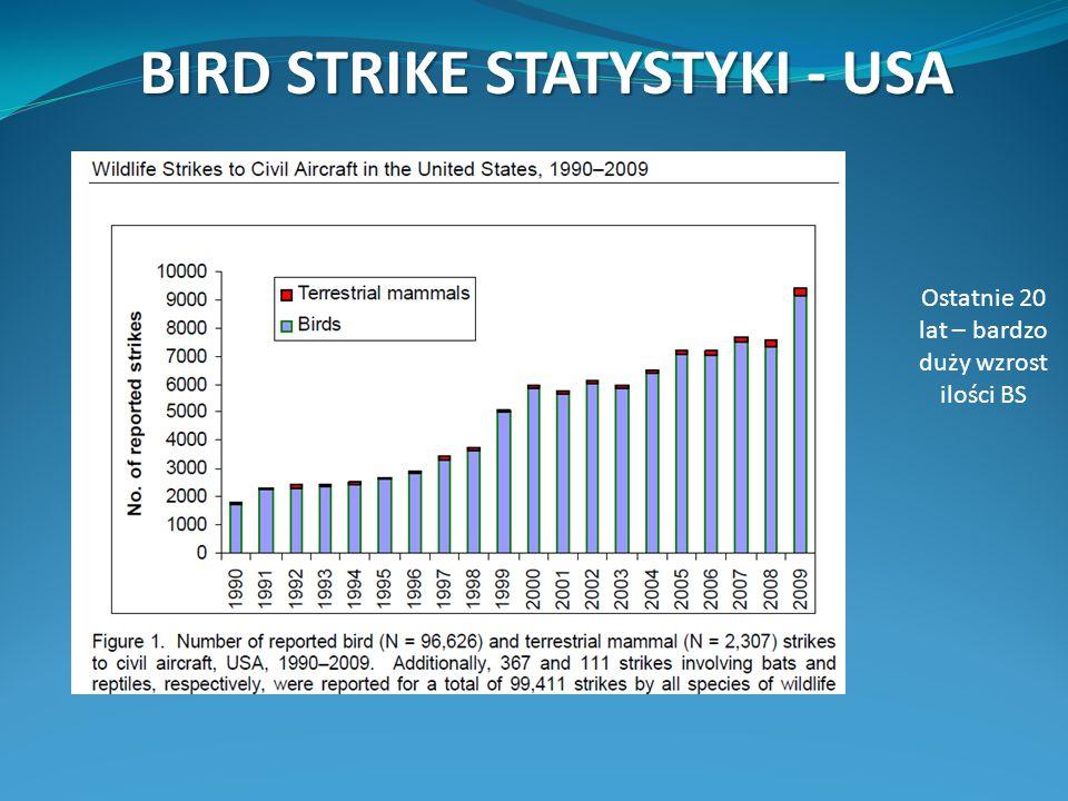 BIRD STRIKE STATYSTYKI - USA Ostatnie 20 lat – bardzo duży wzrost ilości BS