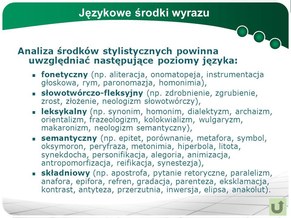 Językowe środki wyrazu Analiza środków stylistycznych powinna uwzględniać następujące poziomy języka: fonetyczny (np. aliteracja, onomatopeja, instrum