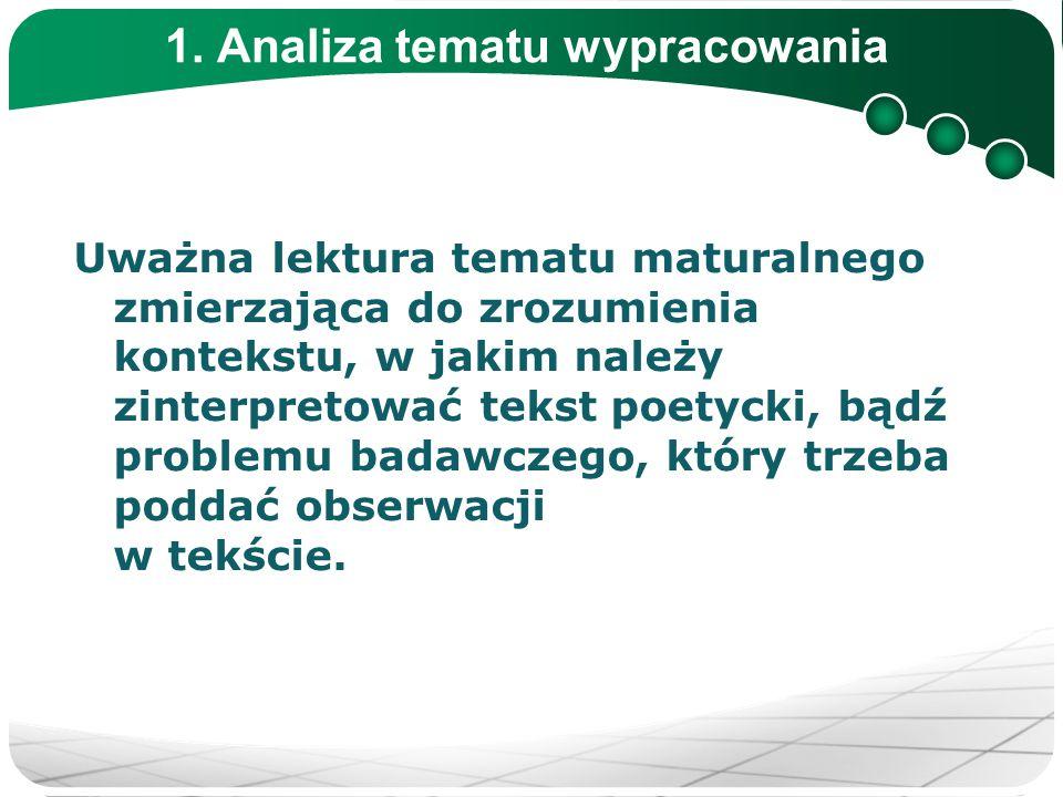1. Analiza tematu wypracowania Uważna lektura tematu maturalnego zmierzająca do zrozumienia kontekstu, w jakim należy zinterpretować tekst poetycki, b