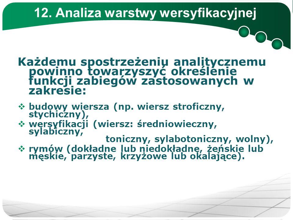 12. Analiza warstwy wersyfikacyjnej Każdemu spostrzeżeniu analitycznemu powinno towarzyszyć określenie funkcji zabiegów zastosowanych w zakresie:  bu