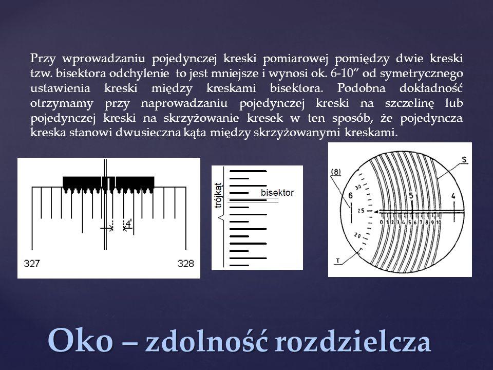 Oko – zdolność rozdzielcza Przy wprowadzaniu pojedynczej kreski pomiarowej pomiędzy dwie kreski tzw.