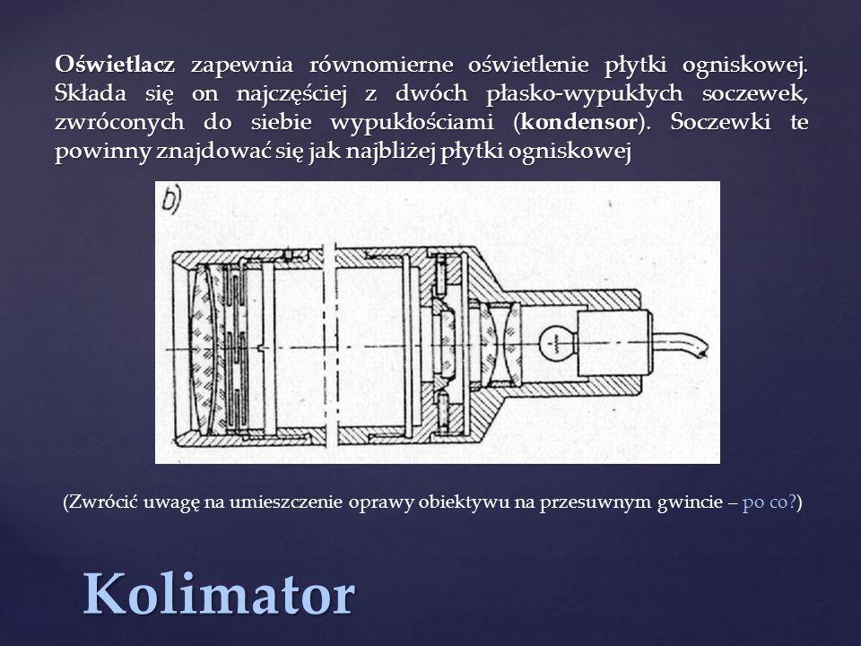 Kolimator Oświetlacz zapewnia równomierne oświetlenie płytki ogniskowej.
