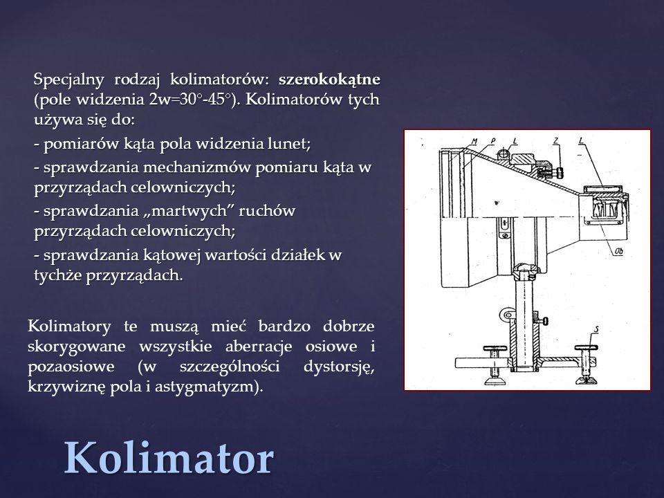 Kolimator Specjalny rodzaj kolimatorów: szerokokątne (pole widzenia 2w=30  -45  ).