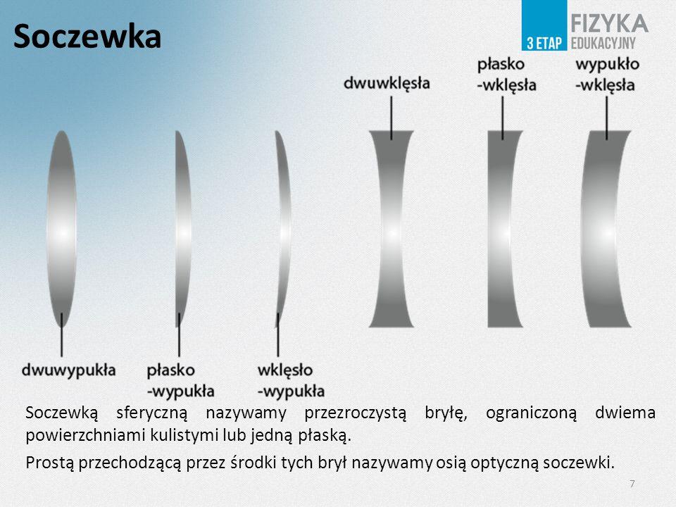 Soczewka Soczewką sferyczną nazywamy przezroczystą bryłę, ograniczoną dwiema powierzchniami kulistymi lub jedną płaską. Prostą przechodzącą przez środ