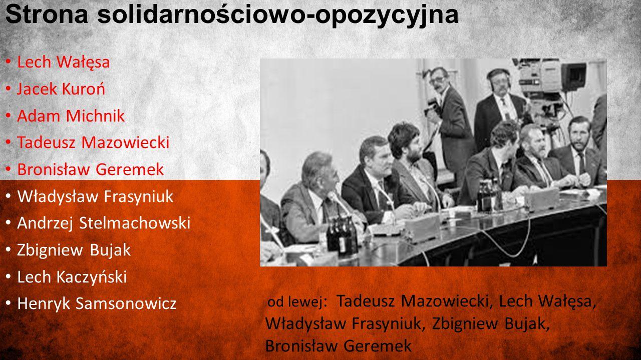 Strona solidarnościowo-opozycyjna Lech Wałęsa Jacek Kuroń Adam Michnik Tadeusz Mazowiecki Bronisław Geremek Władysław Frasyniuk Andrzej Stelmachowski