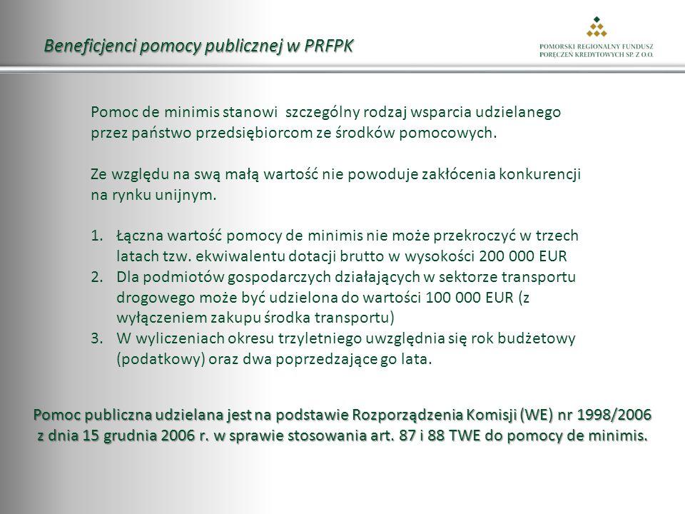 Beneficjenci pomocy publicznej w PRFPK Pomoc de minimis stanowi szczególny rodzaj wsparcia udzielanego przez państwo przedsiębiorcom ze środków pomocowych.