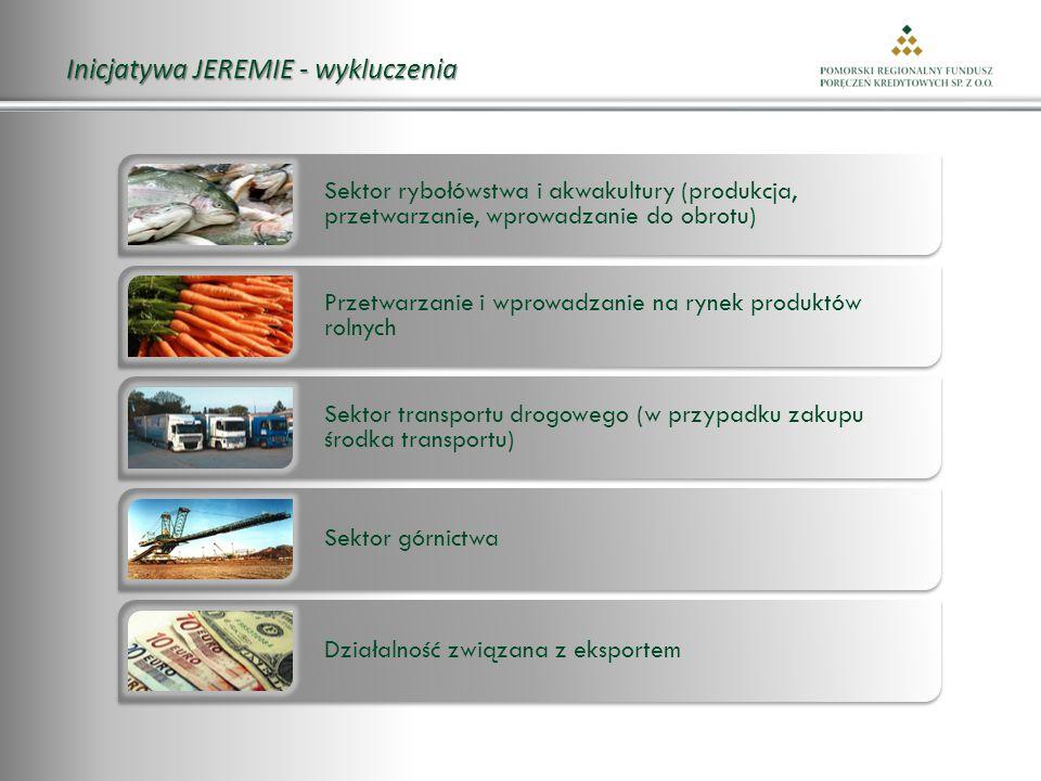 Inicjatywa JEREMIE - wykluczenia Sektor rybołówstwa i akwakultury (produkcja, przetwarzanie, wprowadzanie do obrotu) Przetwarzanie i wprowadzanie na rynek produktów rolnych Sektor transportu drogowego (w przypadku zakupu środka transportu) Sektor górnictwa Działalność związana z eksportem