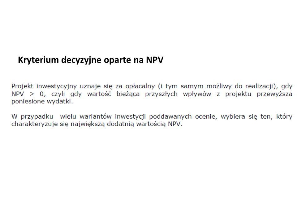 Kryterium decyzyjne oparte na NPV