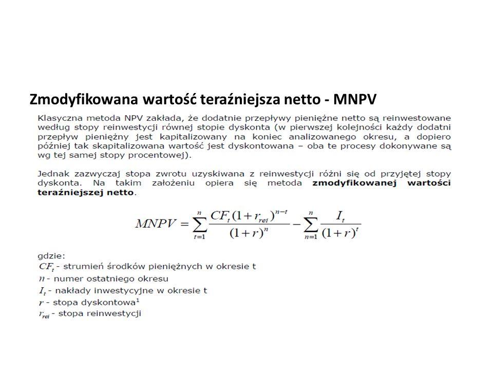 Zmodyfikowana wartość teraźniejsza netto - MNPV