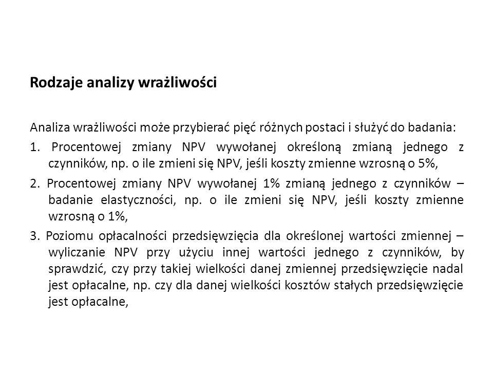 Rodzaje analizy wrażliwości Analiza wrażliwości może przybierać pięć różnych postaci i służyć do badania: 1. Procentowej zmiany NPV wywołanej określon