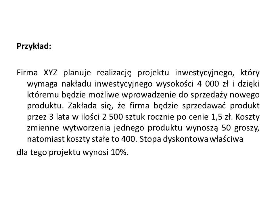 Przykład: Firma XYZ planuje realizację projektu inwestycyjnego, który wymaga nakładu inwestycyjnego wysokości 4 000 zł i dzięki któremu będzie możliwe