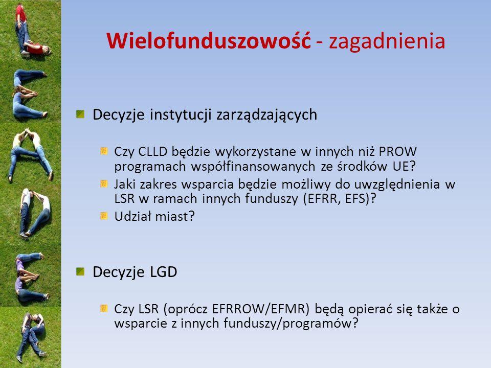 Wielofunduszowość - zagadnienia Decyzje instytucji zarządzających Czy CLLD będzie wykorzystane w innych niż PROW programach współfinansowanych ze środków UE.