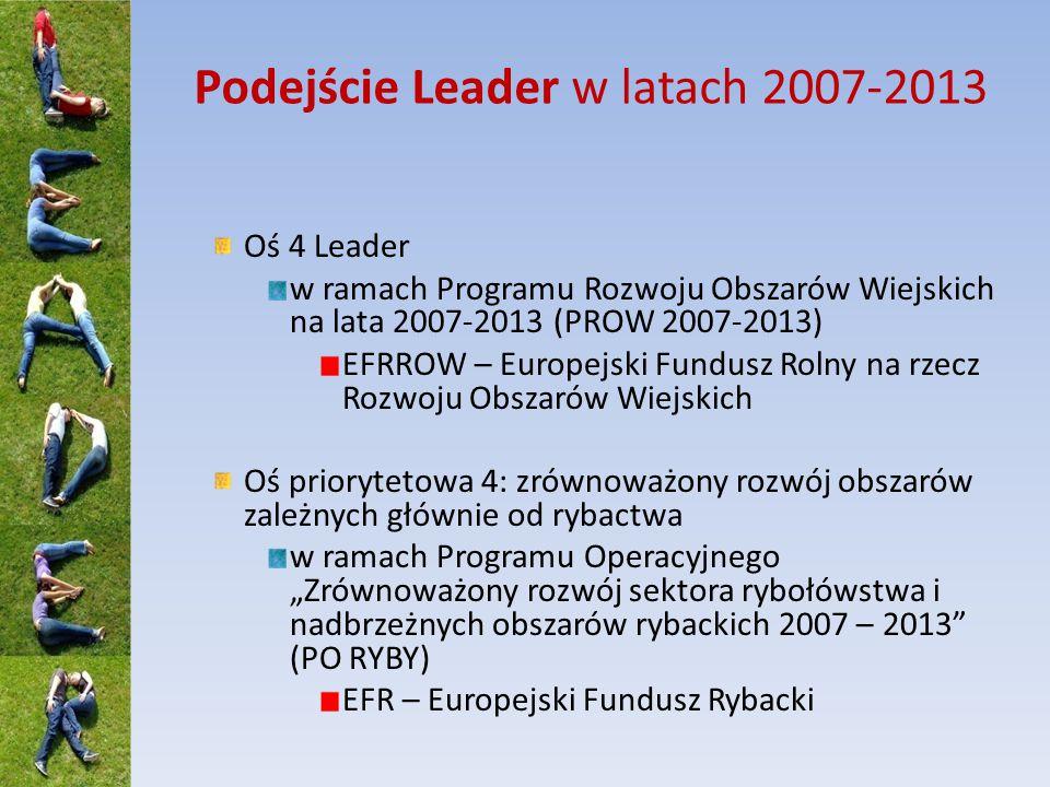 """Podejście Leader w latach 2007-2013 Oś 4 Leader w ramach Programu Rozwoju Obszarów Wiejskich na lata 2007-2013 (PROW 2007-2013) EFRROW – Europejski Fundusz Rolny na rzecz Rozwoju Obszarów Wiejskich Oś priorytetowa 4: zrównoważony rozwój obszarów zależnych głównie od rybactwa w ramach Programu Operacyjnego """"Zrównoważony rozwój sektora rybołówstwa i nadbrzeżnych obszarów rybackich 2007 – 2013 (PO RYBY) EFR – Europejski Fundusz Rybacki"""
