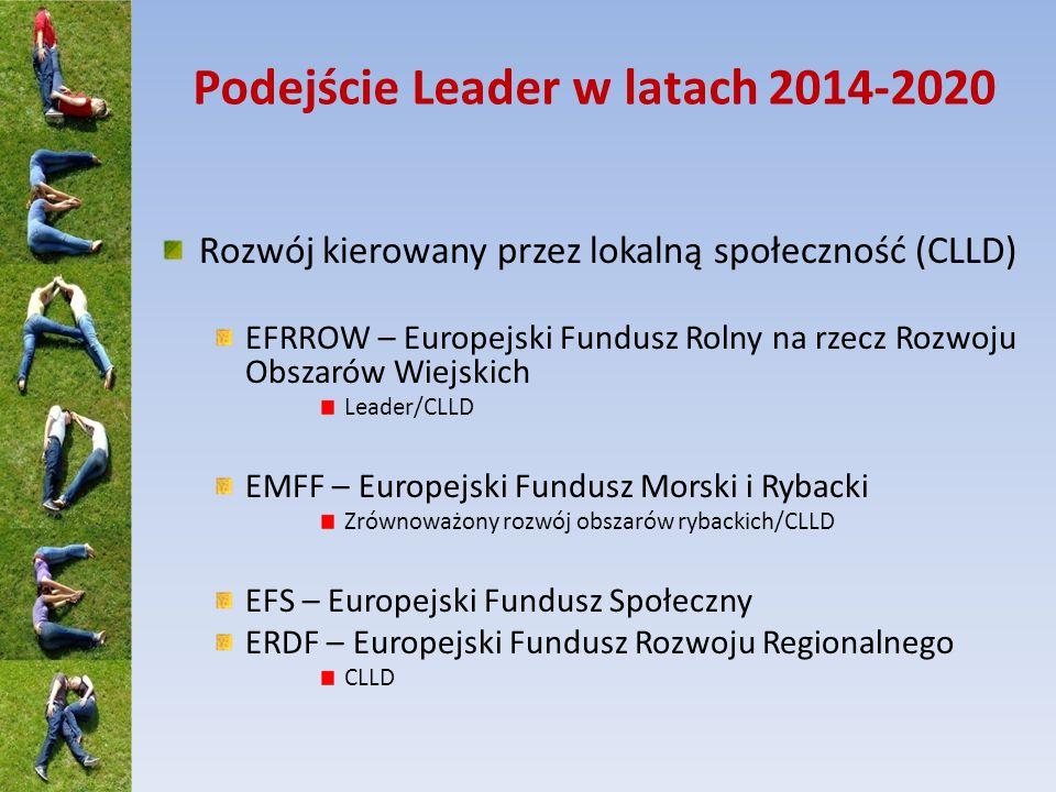 Podejście Leader w latach 2014-2020 Rozwój kierowany przez lokalną społeczność (CLLD) EFRROW – Europejski Fundusz Rolny na rzecz Rozwoju Obszarów Wiejskich Leader/CLLD EMFF – Europejski Fundusz Morski i Rybacki Zrównoważony rozwój obszarów rybackich/CLLD EFS – Europejski Fundusz Społeczny ERDF – Europejski Fundusz Rozwoju Regionalnego CLLD