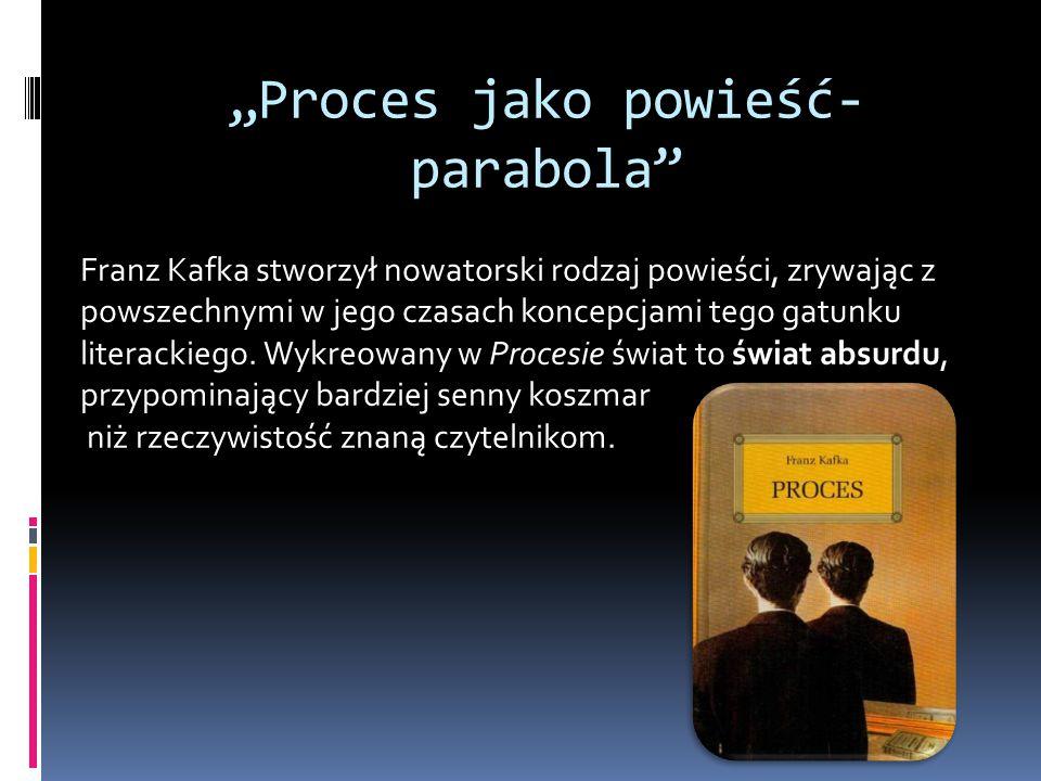 """""""Proces jako powieść- parabola Franz Kafka stworzył nowatorski rodzaj powieści, zrywając z powszechnymi w jego czasach koncepcjami tego gatunku literackiego."""