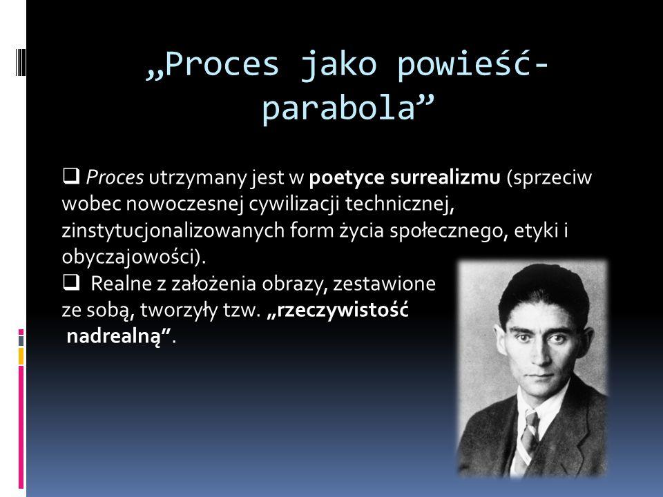"""""""Proces jako powieść- parabola""""  Proces utrzymany jest w poetyce surrealizmu (sprzeciw wobec nowoczesnej cywilizacji technicznej, zinstytucjonalizowa"""