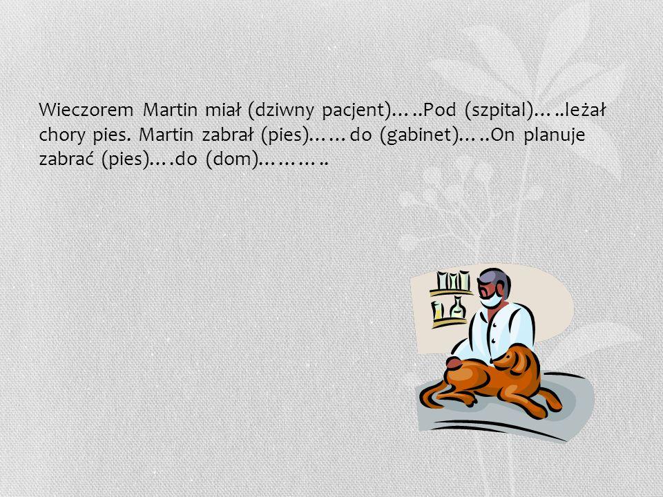 Wieczorem Martin miał (dziwny pacjent)…..Pod (szpital)…..leżał chory pies. Martin zabrał (pies)……do (gabinet)…..On planuje zabrać (pies)….do (dom)……….