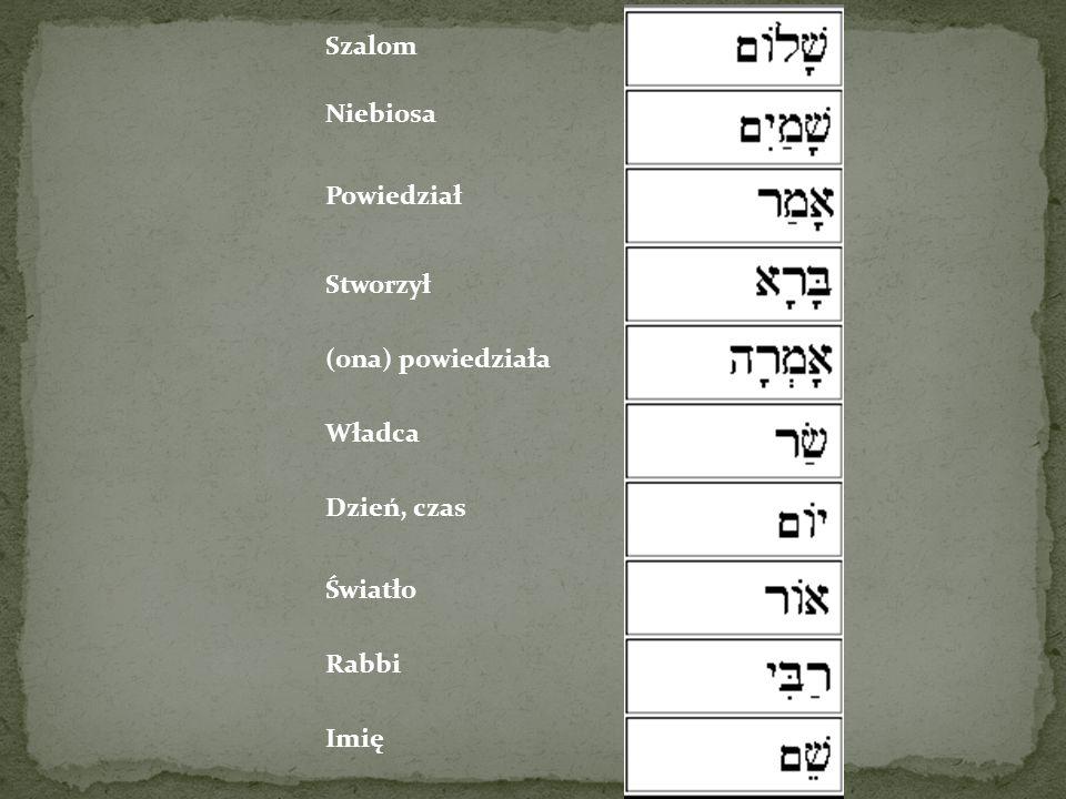 Szalom Niebiosa Powiedział Stworzył (ona) powiedziała Władca Dzień, czas Światło Rabbi Imię