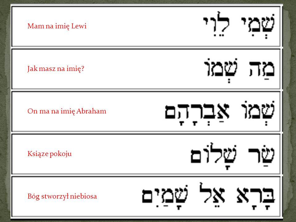Mam na imię Lewi Jak masz na imię? On ma na imię Abraham Ksiąze pokoju Bóg stworzył niebiosa