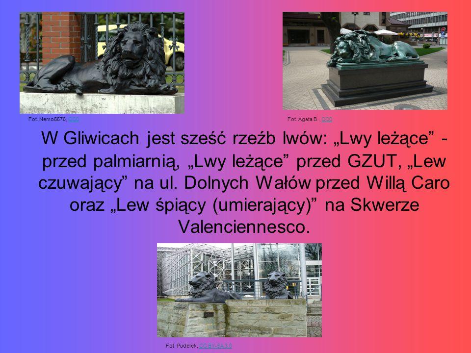 """W Gliwicach jest sześć rzeźb lwów: """"Lwy leżące - przed palmiarnią, """"Lwy leżące przed GZUT, """"Lew czuwający na ul."""