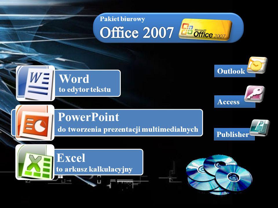 Word to edytor tekstu PowerPoint do tworzenia prezentacji multimedialnych Excel to arkusz kalkulacyjny Publisher Access Outlook